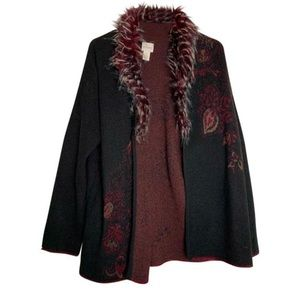 Chico's 0 burgundy design faux fur collar cape